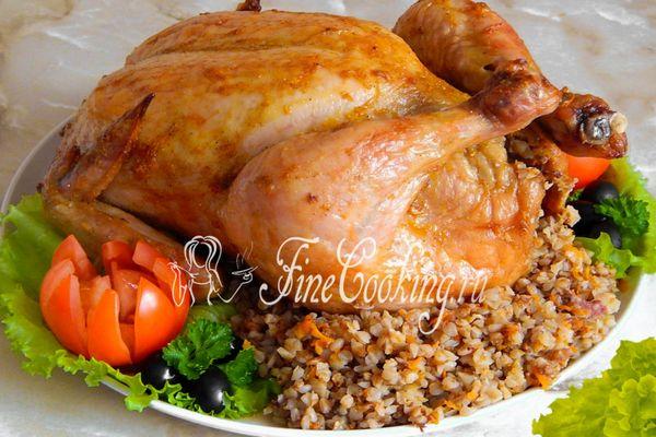 Курица фаршированная гречкой в духовке рецепт